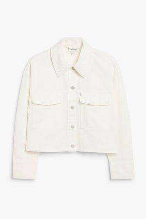 Boxy denim jacket - White - Denim jackets - Monki WW