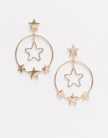 Monki Sonia star drop earrings in gold | ASOS