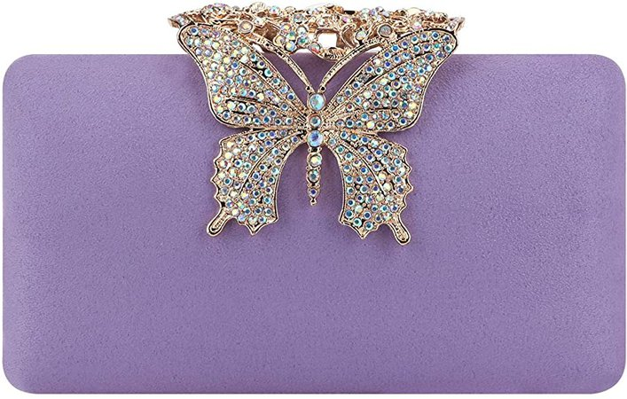 Amazon.com: Fawziya Evening Bags Velvet Butterfly Clutch Purses For Women Wedding-Purple: Shoes