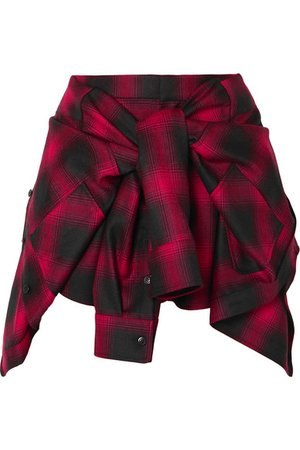 Alexander Wang   Tie-front checked wool-flannel shorts   NET-A-PORTER.COM