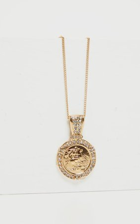 Gold Roman Coin Necklace | Accessories | PrettyLittleThing