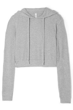 Alo Yoga | Getaway cropped mélange brushed-jersey hoodie | NET-A-PORTER.COM