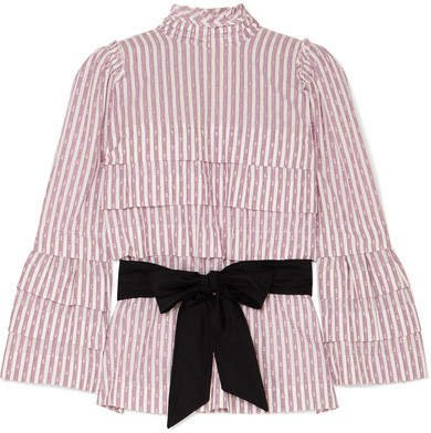 Anna Mason - Mademoiselle Belted Tiered Striped Fil Coupé Blouse - Lilac