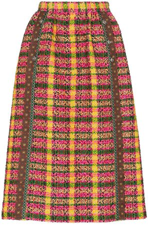 boucle tweed midi skirt