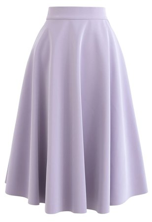 Sleek Faux Leather A-Line Midi Skirt in Purple - Retro, Indie and Unique Fashion