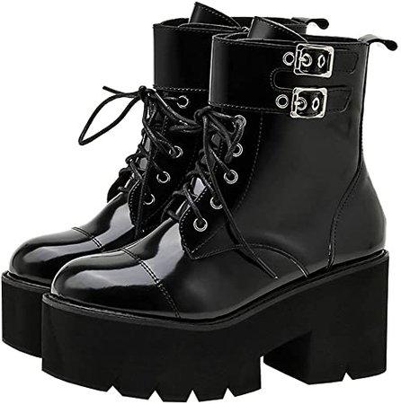 Amazon.com   Parisuit Womens Goth Patent Ankle Boots Platform Chunky High Heel Lace Up Combat Boots Punk Buckle Chain Booties-Black Size 4   Ankle & Bootie