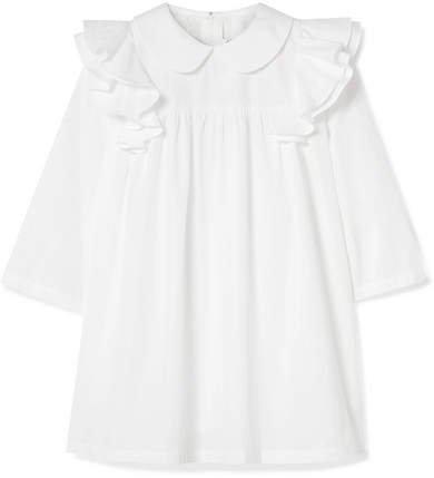 Ruffled Cotton-poplin Blouse - White