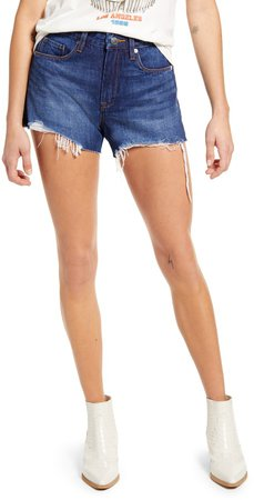 The Barrow Distressed High Waist Denim Shorts