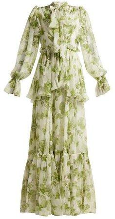 Leaf Print Chiffon Gown - Womens - Green Print