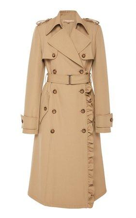 Ruffled Wool-Gabardine Trench Coat by Michael Kors Collection | Moda Operandi