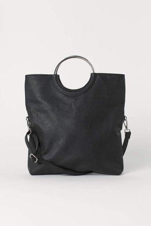 Shopper with Shoulder Strap - Black