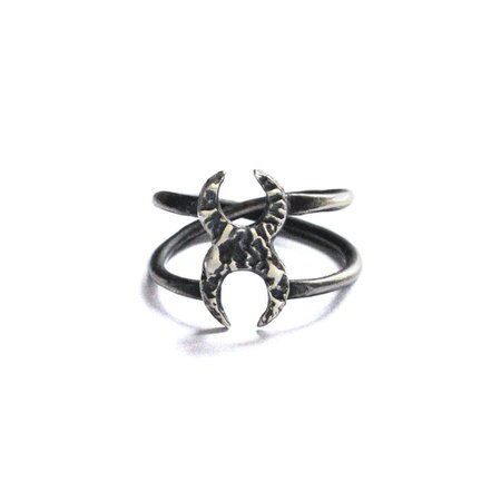 Two crescent moons silver midi ring | Lunaria jewellery