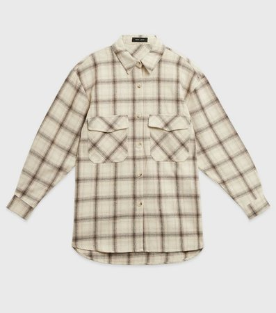 White Brushed Check Pocket Front Shirt | New Look