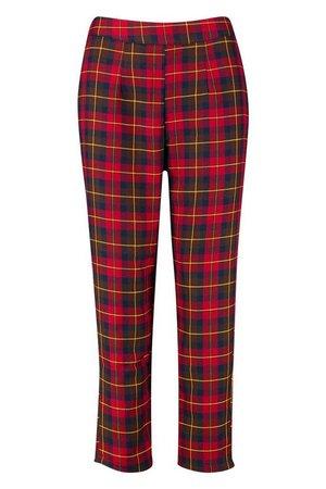 Woven Tartan Check Peg Pants | Boohoo
