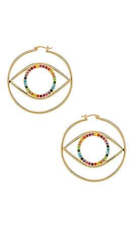 Ettika Eye Earring in Rainbow Gold | REVOLVE