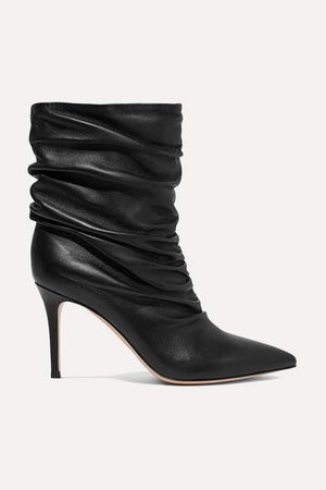 Cecile 85 Ruched Leather Ankle Boots - Black