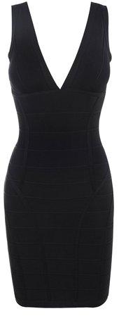 Clothing : Bandage Dresses : 'Jenna' Black V Neck Bandage Dress