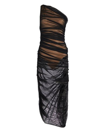 Norma Kamali | Diana Ruched Mesh One-Shoulder Dress | INTERMIX®