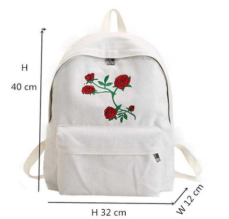 Harajuku Rose Embroidery Backpack – Online Aesthetic