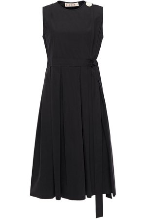 Black Pleated button-embellished cotton-poplin wrap dress | Sale up to 70% off | THE OUTNET | MARNI | THE OUTNET