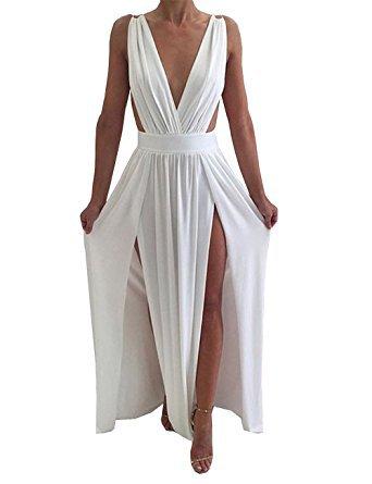 Maketina Womens Sexy Deep V Neck Backless High Slit Flowy Long Evening Dress