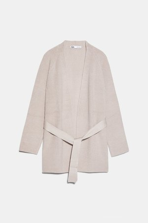 BELTED CARDIGAN - NEW IN-WOMAN   ZARA United States sand