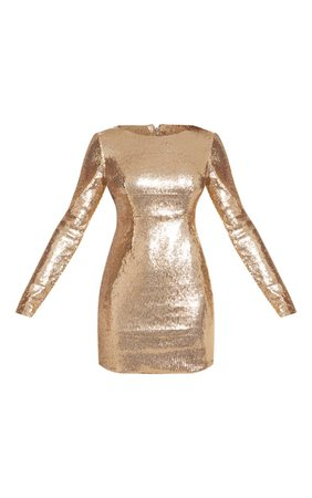 Tall Gold Sequin Bodycon Dress | Tall | PrettyLittleThing USA
