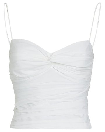 Zeynep Arcay Ruched Cropped Cotton Tank Top | INTERMIX®