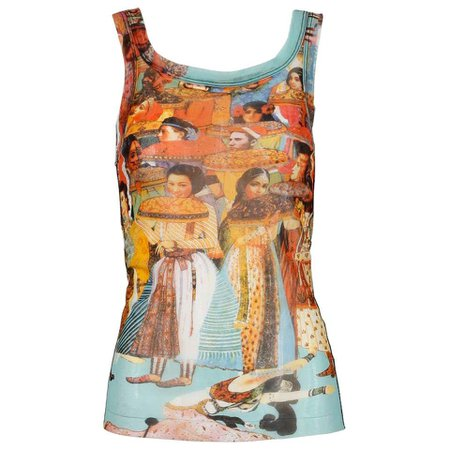 Jean Paul Gaultier Vintage Mesh Asian and Indian Faces Tank Top Shirt, 1990s For Sale at 1stDibs