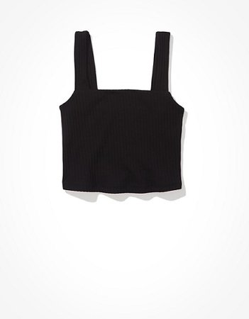 AE Cropped Square-Neck Tank Top black