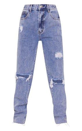 Plt Petite Blue Acid Wash Distressed Long Leg Jeans | PrettyLittleThing