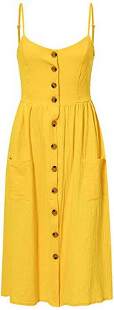 Simplee Women's Boho Floral Spaghetti Strap Dress V Neck Button Down Swing Midi Dress at Amazon Women's Clothing store