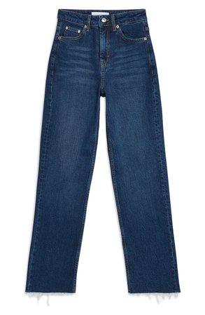 Topshop Moto Raw Hem Straight Leg Jeans | Nordstrom