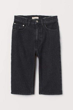 Knee-length Denim Shorts - Black