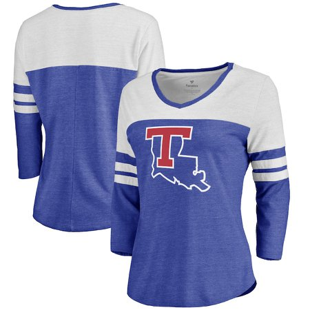 Louisiana Tech Bulldogs Fanatics Branded Women's Primary Logo Color Block 3/4 Sleeve Tri-Blend T-Shirt - Royal