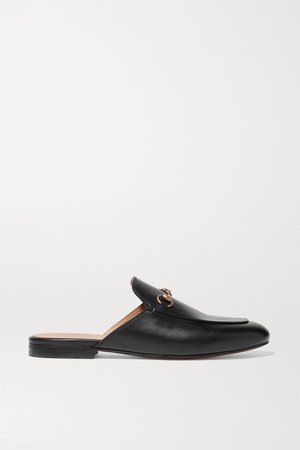Black Princetown horsebit-detailed leather slippers | Gucci | NET-A-PORTER