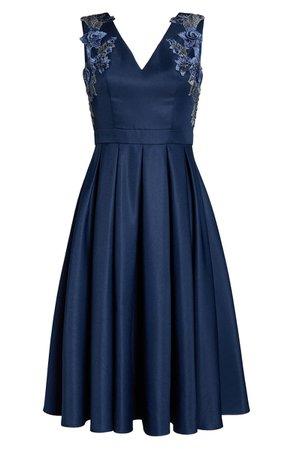 Chi Chi London Kyla Appliqué Detail Fit & Flare Party Dress | Nordstrom