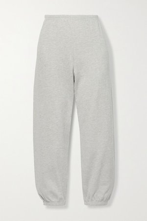 Printed Cotton-jersey Track Pants - Gray