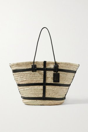 Watermill Large Leather-trimmed Raffia Tote - Neutral