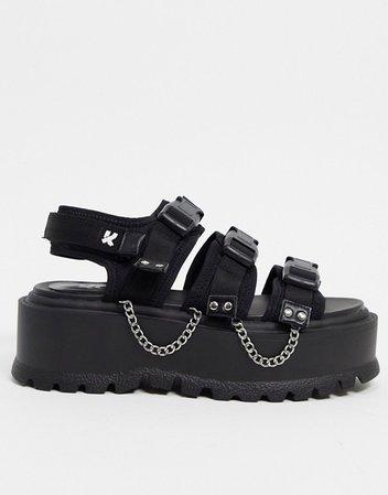 Koi Footwear Cascadia vegan velcro chunky sandal with chain in black | ASOS