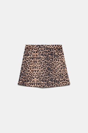 FAUX SUEDE PRINT SKIRT   ZARA United States