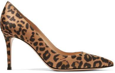 85 Leopard-print Satin Pumps - Leopard print