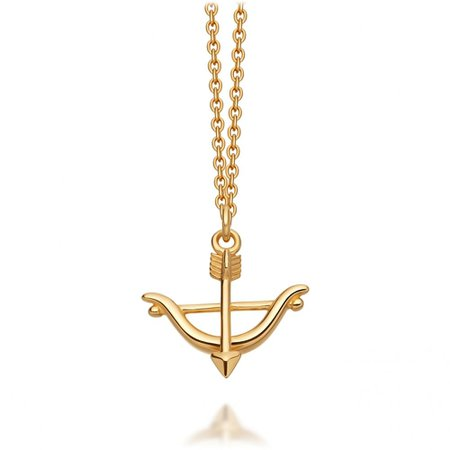 bow and arrow gold necklace