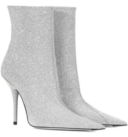 BALENCIAGA Silver Glitter Knife Boots