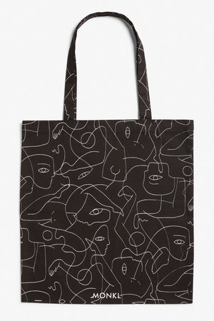 Tote bag - Black and white abstract print - Bags - Monki WW