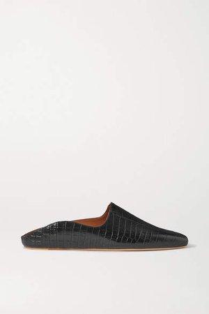 Deveaux Dax Croc-effect Leather Loafers - Black