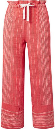 Saba Cropped Embroidered Cotton-gauze Wide-leg Pants - Coral