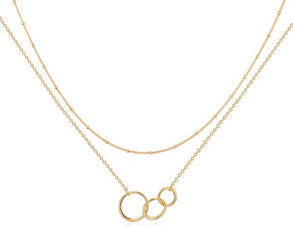 Amazon.com: Mevecco Gold Layered Necklace, 14K Gold Disc/Circle Bead Chain Dainty Elegant Simple Layer Necklace for Women…