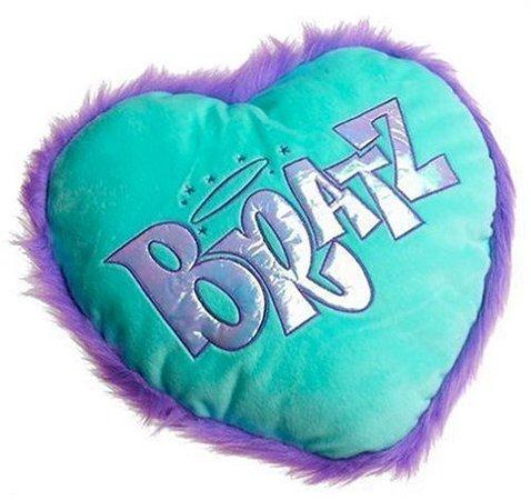 bratz blue and purple heart shaped pillow