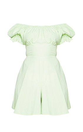 Lime Bardot Tie Back Playsuit   PrettyLittleThing USA